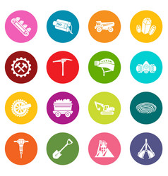 Coal mine icons set colorful circles vector