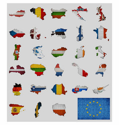 Collection of maps and flags of the european vector