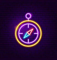 compass neon label vector image