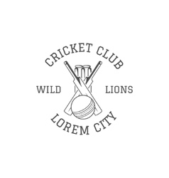Cricket club emblem and design elements logo vector image