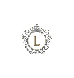 Crown leaf logo initial l vector