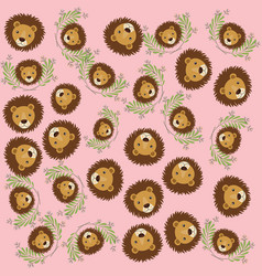 cute lions with leafs pattern background vector image
