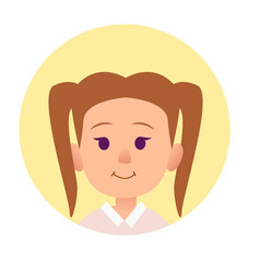 Cute smiling girl with two tails hairstyle flat vector
