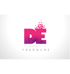 De d e letter logo with pink purple color and vector