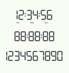 Digital clock and numbers vector