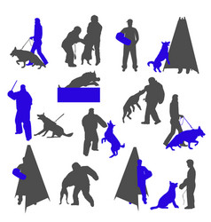 Dog sport and training silhouettes isolated on vector
