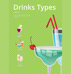 drinks type advert poster with blue cocktail glass vector image