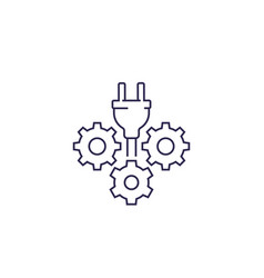 Electric plug with gears line icon vector
