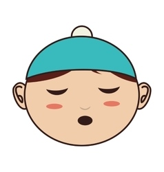 Face baby hat closed eyes vector