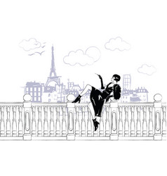 fashion girls in sketch-style in paris fashion vector image