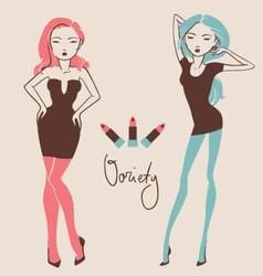 Fashion girls with different body types hand drawn vector