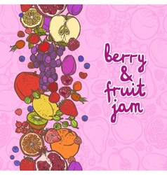 Fruits and berries border vertical vector