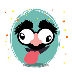 Funny face fools day design vector