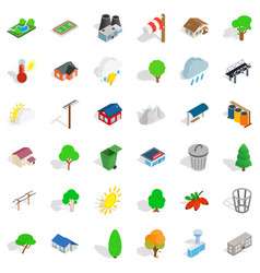 Garden landscape icons set isometric style vector