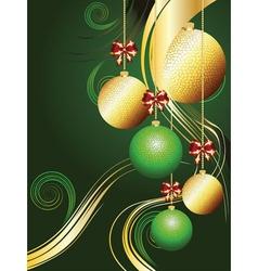 Gold and Green Xmas Balls vector image