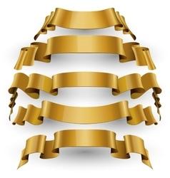Gold Glossy ribbons set vector image