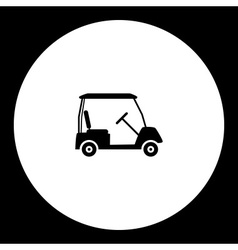Golf sport cart simple black icon eps10 vector