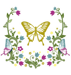 Graphic element butterfly with flourishes 3 vector
