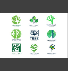 green tree logo original design set of vector image