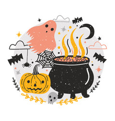 Halloween composition with witch pot full of vector