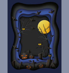 Halloween poster - layered paper cut out night vector