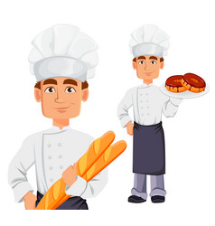 Handsome baker in professional uniform vector