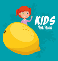 happy girl with nutrition food vector image