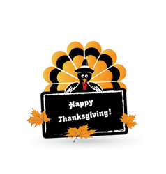 happy thanksgiving turkey card icon vector image