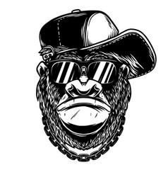 head angry gorilla with baseball cap vector image