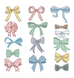 Holiday bows and ribbons in cartoon style vector