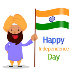 Indian bearded man in a turban holding national vector