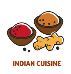 Indian cuisine curry and ginger vector