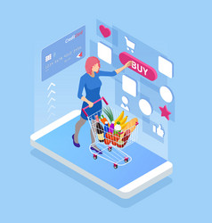 isometric buying food online e-supermarket vector image