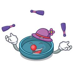 juggling ashtray mascot cartoon style vector image