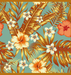 jungle flowers and leaves vintage background vector image