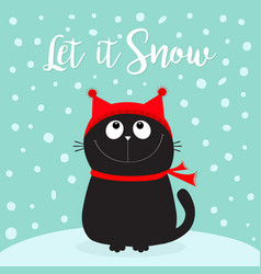 let it snow black cat kitten head face looking up vector image
