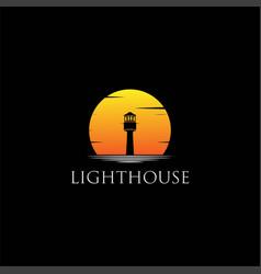 lighthouse searchlight beacon tower island beach c vector image