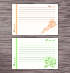 Lined recipe card with vegetables on wooden vector
