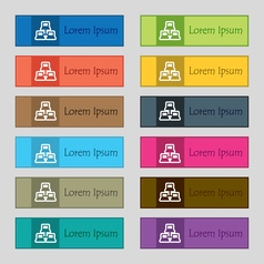 Local area network icon sign Set of twelve vector