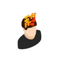 Male head with puzzle icon isometric 3d style vector image
