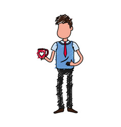 man with coffee cup in his hand and elegant wear vector image