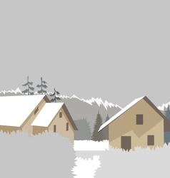 Mountain village winter ski resort vector image