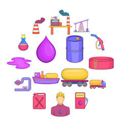 oil industrial icons set cartoon style vector image