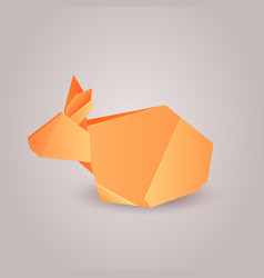 Origami paper rabbit separately from the backgro vector