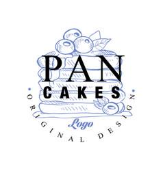 Pancakes logo original design retro emblem for vector