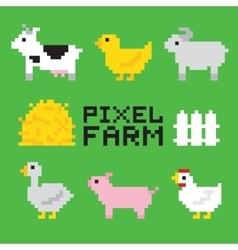 Pixel art farm animals isolated set vector image vector image