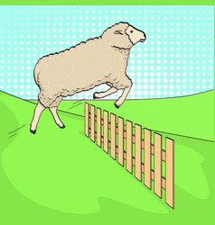 Pop art background the sheep jumps over the fence vector