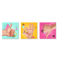 realistic hand gestures collection vector image