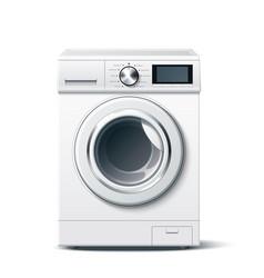 Realistic washing machine white 3d mockup vector
