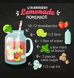 Recipe homemade strawberry lemonade vector